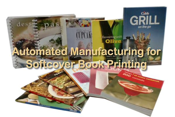 Automated manufacturing for softcover book printing